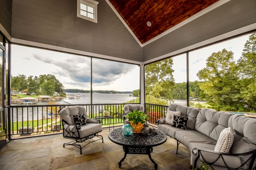 screened porch view of lake
